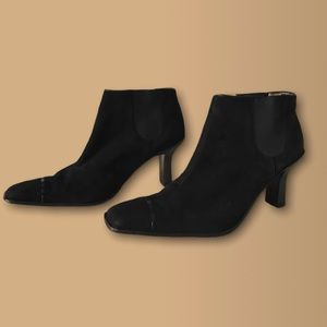 Chanel • Black Suede Heeled Ankle Boots